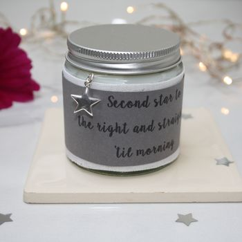 Personalised Silver Star Charm Candle