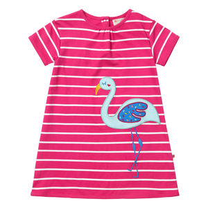 Girls Pink Flamingo Stripe Short Sleeved Summer Dress