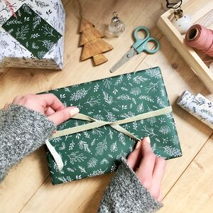 Christmas Greenery Green Wrapping Paper