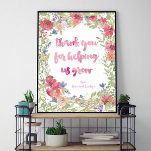 'Thank You For Helping Me Grow' Floral Poster - gifts for teachers