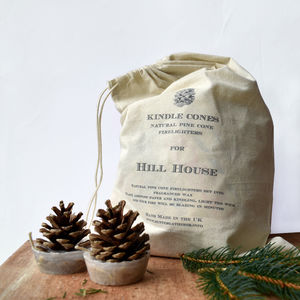 Personalised Bag Of Kindle Cone Firelighters - fireplace accessories
