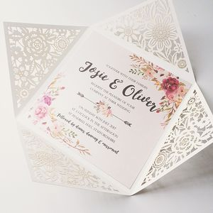 Floral Design Laser Cut Wedding Invitation