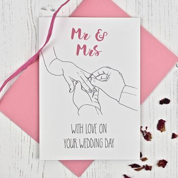 With This Ring Mr And Mrs Wedding Card