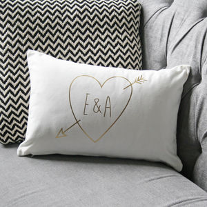 Personalised Gold Initials Cupid Cushion - engagement gifts