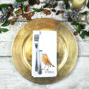 Personalised Robin Napkin - tableware