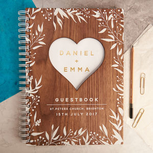 Personalised Gold Walnut Heart Wedding Guest Book - guest books