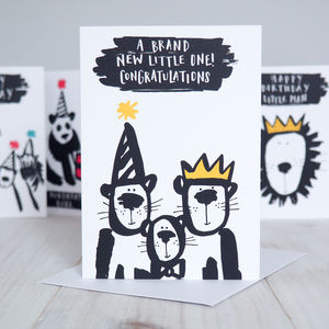 Animal Characters New Baby Card - new baby cards