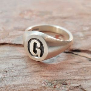 Personalised Initial Oval Silver Signet Ring