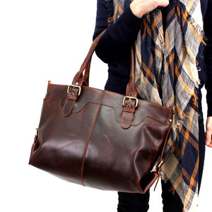 Leather Buckle Tote Bag - bags