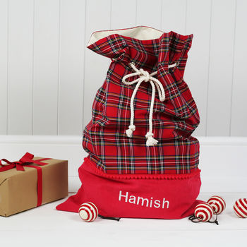 Luxury Personalised Tartan Christmas Santa Sack