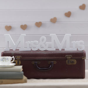Mrs And Mrs Wooden Wedding Sign - winter sale