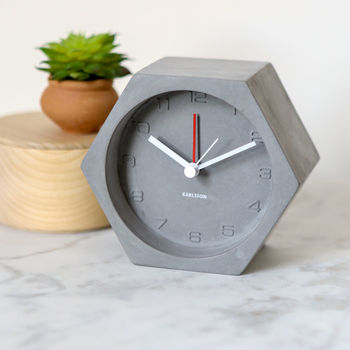 Concrete Hexagon Alarm Or Mantel Clock