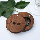 Personalised Walnut Round Engraved Ring Box