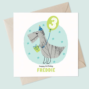 Personalised Sparkly Dinosaur Birthday Card