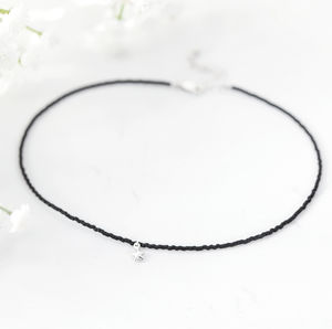 Black Sterling Silver Star Charm Choker