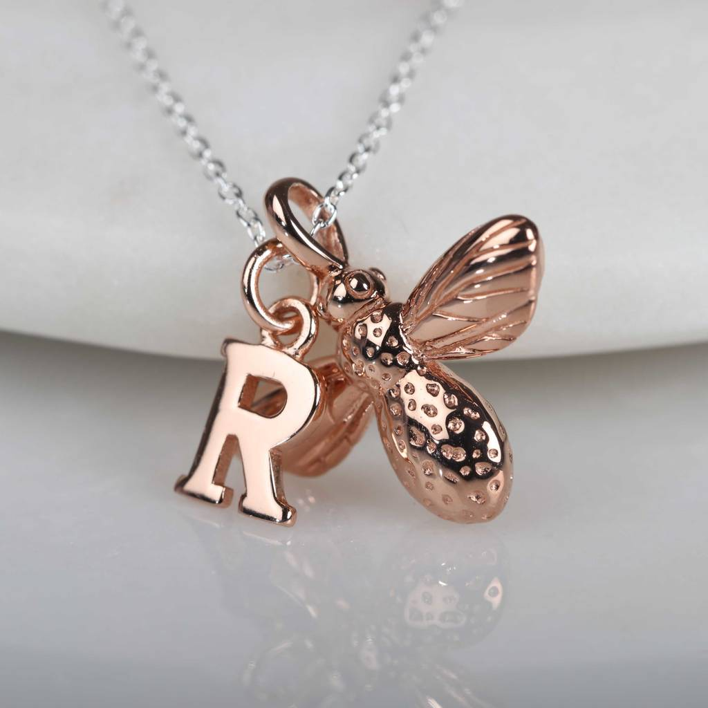 necklace bumblebee bee honey listing il tiny gold initial charm