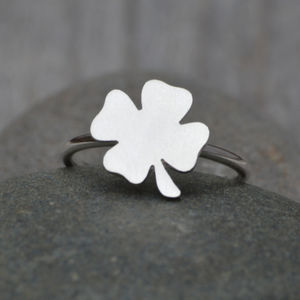 Lucky Four Leaves Shamrock Ring In Sterling Silver - rings