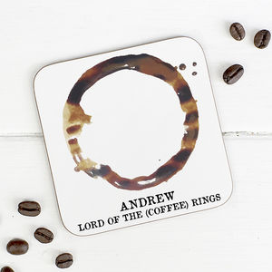 Personalised 'Lord Of The Coffee Rings' Coaster - placemats & coasters