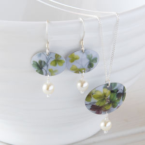 Green Floral Print Necklace /Earrings Set With Pearls - jewellery sets
