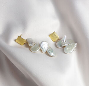 Petal Stud And Cascading Pearl Earrings