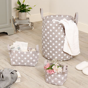 100% Cotton Nordic Star Storage Basket Selection - baby's room