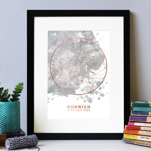 Grey Blot Rose Gold Foil Personalised Star Map Print - room decorations