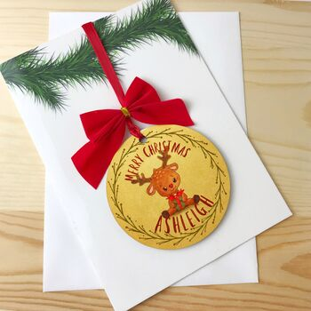 Personalised Christmas Card With Bauble Decoration