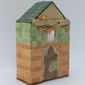 Orange Bunting Beach Hut Mosaic Ornament