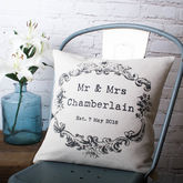 Vintage Style 'Mr And Mrs' Cushion Cover - home