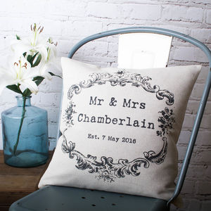 Vintage Style 'Mr And Mrs' Cushion Cover - bedroom