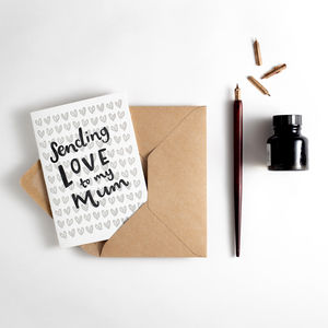 Sending Love To My Mum Letterpress Card