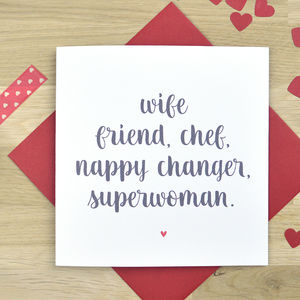 Personalised Card For Superwoman Wife - valentine's cards