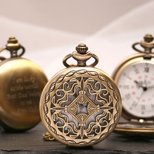 Pandora Design Engraved Bronze Pocket Watch
