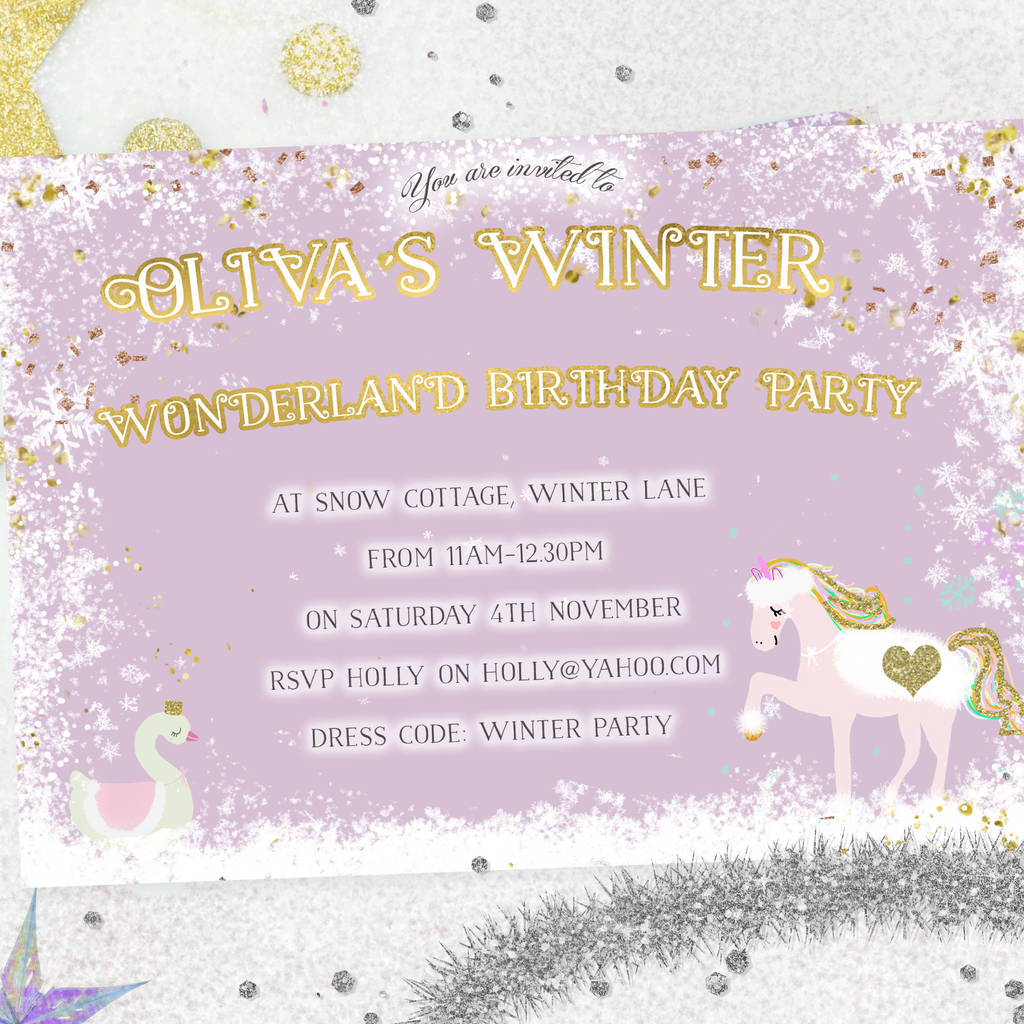 unicorn christmas party invites winter wonderland by lily