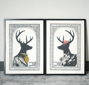 Set Of Two Mr And Mrs Dandy Deer Prints - animals & wildlife