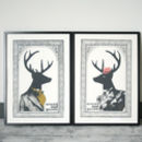 Set Of Two Mr And Mrs Dandy Deer Prints