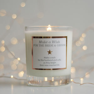'Make A Wish For The Bride And Groom' Wedding Candle