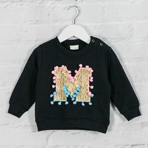 Personalised Baby Sweatshirt With Gold Letter - new in baby & child