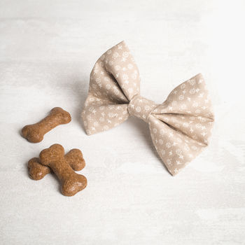 Cream Floral Dog Bow Tie For Girl Or Boys