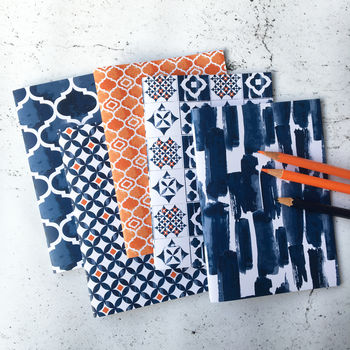 Set Of Five A6 Notebooks, Blue And Orange Pattern