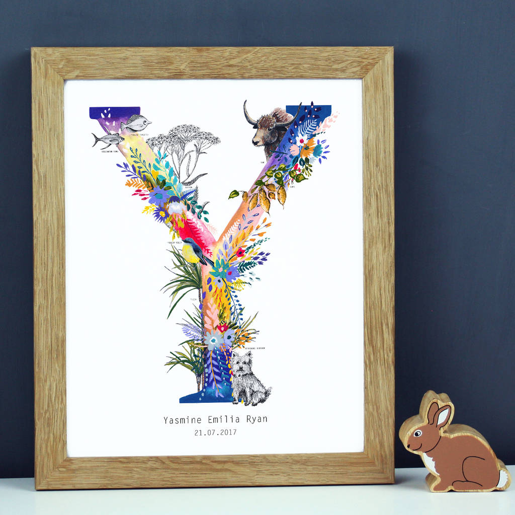 Personalised T To Z Wildlife Alphabet Letter Print By Charlotte