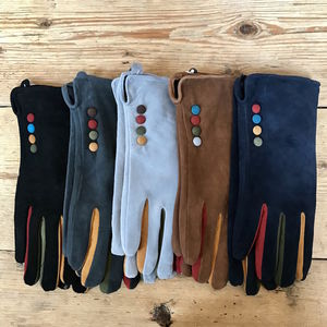 Suede Gloves With Buttons - gloves