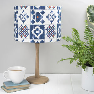 Marisol Lampshade Blue And Orange Tile Pattern - lamp bases & shades