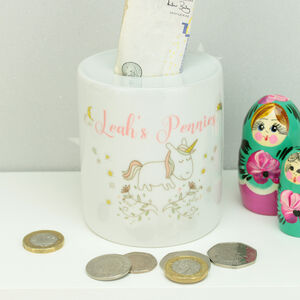 Personalised Unicorn Children's Ceramic Money Box