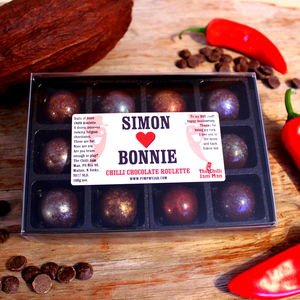 Personalised Chilli Lovers Chocolate Roulette Set 100g