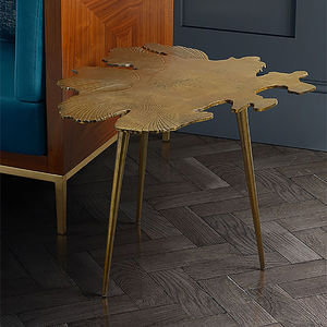 Brass Leaf Side Table - bedside tables