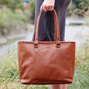 Personalised Large Leather Tote Bag