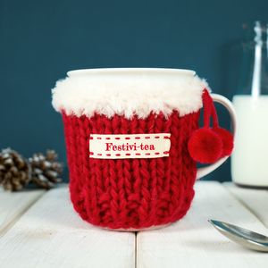 Personalised Christmas Pom Pom Mug Cosy - tableware