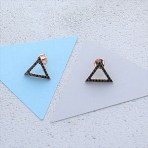 Black Zircon Rose Gold Triangle Earrings