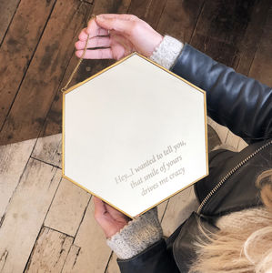 Hexagonal Personalised 'Motivational' Hanging Mirror - bedroom